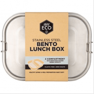 EVER ECO Stainless Steel Bento Lunch Box 2 Compartment With Removable Divider 1400ml
