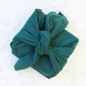 Reusable Green Linen Gift Wrap