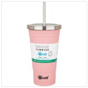 Cheeki Insulated Tumbler Pink - With S/Steel Straw 500ml
