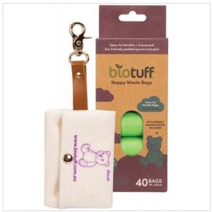 BIOTUFF Nappy Waste Bags & Dispenser 4 X 10 Bag Rolls 40