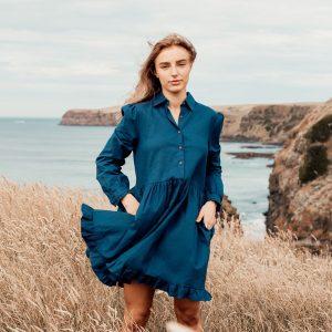 Ikya Navy Linen Dress