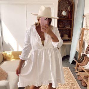 Ikya White Linen Dress